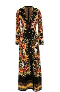Вязаное пальто-макси с контрастным принтом Roberto Cavalli