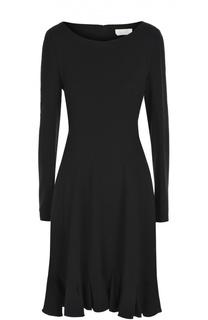 Приталенное мини-платье с длинным рукавом и оборкой Chloé