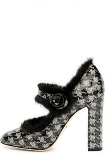 Лаковые туфли Vally с меховой отделкой Dolce & Gabbana
