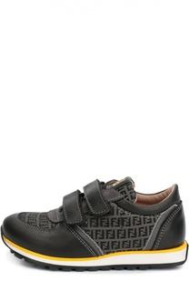 Кожаные кроссовки с текстильными вставками Fendi Roma