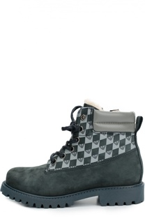 Кожаные ботинки с принтом Giorgio Armani