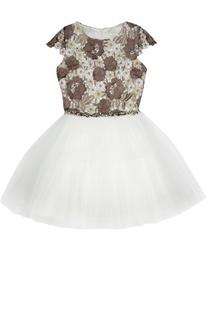 Платье с пышной юбкой и кружевной отделкой David Charles
