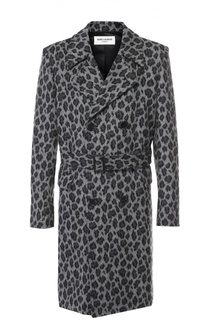 Шерстяное двубортное пальто с леопардовым принтом Saint Laurent
