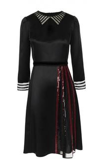 Шелковое платье с прозрачными вставками и отделкой пайетками Marc Jacobs