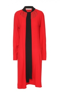 Платье прямого кроя с контрастным воротником аскот Marni