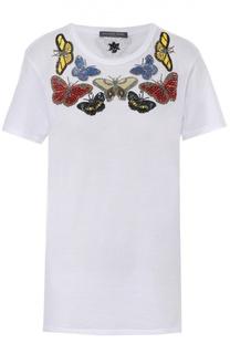 Хлопковая футболка прямого кроя с контрастной вышивкой Alexander McQueen