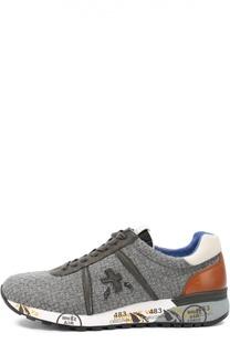 Текстильные кроссовки с отделкой из натуральной кожи Premiata