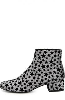 Текстильные ботильоны Babies с бархатными звездами Saint Laurent