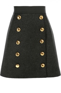 Мини-юбка А-силуэта с широким поясом и декоративными пуговицами Dolce & Gabbana