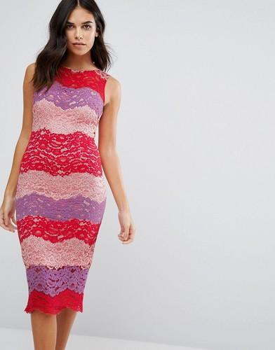 Кружевное платье миди в разноцветную полоску Paper Dolls - Красный