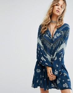 Платье А-силуэта с принтом Free People - Синий