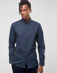 Рубашка узкого кроя с воротником на пуговицах и мелким принтом Produkt - Черный