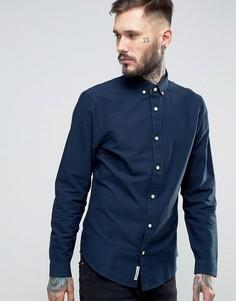 Темно-синяя узкая оксфордская рубашка на пуговицах с логотипом Original Penguin - Темно-синий