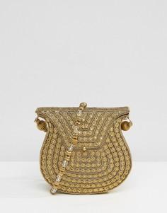 Золотистая сумка с отделкой бусинами на ремешке через плечо Park Lane - Золотой