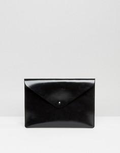 Черный лакированный клатч Leather Satchel Company - Черный