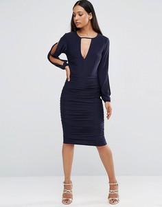 Присборенное платье с разрезами на длинных рукавах AX Paris - Темно-синий