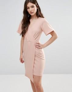 Платье с запахом и короткими рукавами Closet - Розовый
