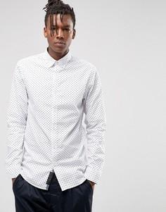 Рубашка узкого кроя с воротником на пуговицах и мелким принтом Produkt - Белый