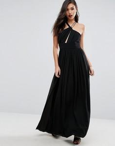 Атласное платье макси с глубоким вырезом и разрезом до бедра Stylestalker - Черный