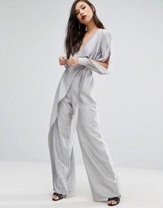 Комбинезон с широкими штанинами и разрезами на рукавах Stylestalker - Серый
