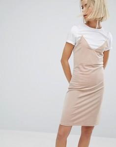 Платье с бархатным верхним слоем Moss Copenhagen - Бежевый