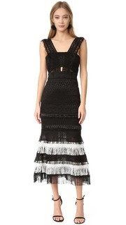 Вечернее платье шелка с бахромой с вырезами в стиле Бандо Jonathan Simkhai