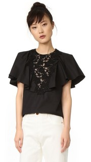 Оборчатый блузка с короткими рукавами Giambattista Valli