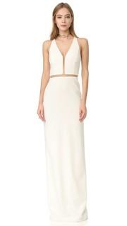 Вечернее платье с V-образным вырезом и отделкой сетчатыми полосками Alexander Wang
