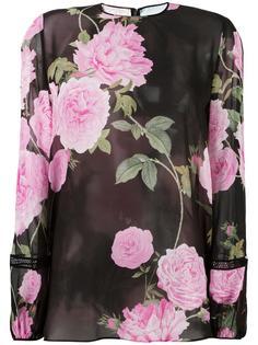 прозрачная блузка с цветочным принтом Giambattista Valli