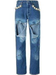 декорированные джинсы с рваной отделкой Forte Couture