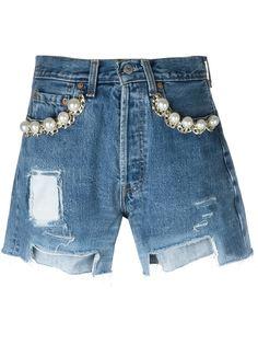 декорированные джинсовые шорты  Forte Couture