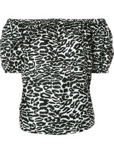 блузка с леопардовым принтом и открытыми плечами Piamita