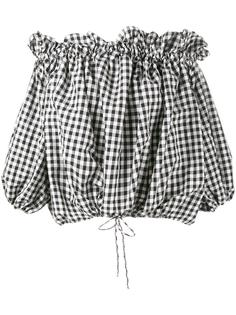 Gingham off-shoulders blouse Marques'almeida
