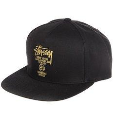 Бейсболка с прямым козырьком Stussy World Tour Lux Strapback Cap Black