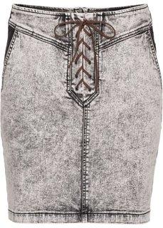 Джинсовая юбка на шнуровке (серый) Bonprix