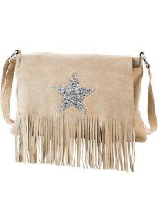Кожаная сумка через плечо Звезда (синий/серебристый) Bonprix