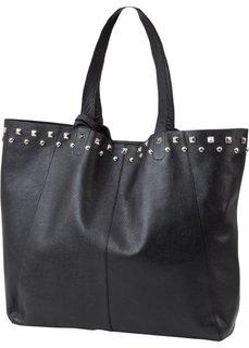Кожаная сумка-шопер с заклепками (черный) Bonprix