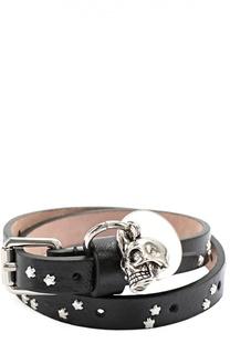 Кожаный браслет с подвеской в виде черепа Alexander McQueen