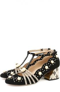 Замшевые туфли Ofelia с жемчужинами и стразами Gucci