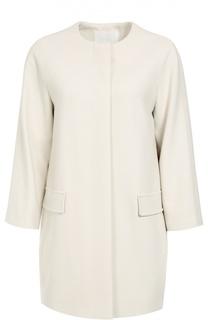 Пальто прямого кроя с круглым вырезом и карманами BOSS