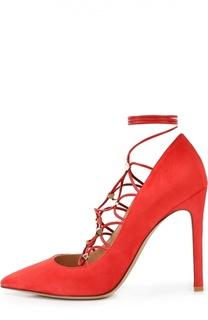 Замшевые туфли Rockstud Gladiator на шнуровке Valentino