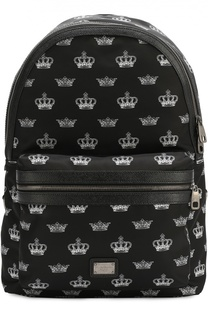 Рюкзак с принтом и отделкой из натуральной кожи Dolce & Gabbana