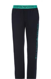 Хлопковые брюки прямого кроя с контрастной надписью Emporio Armani