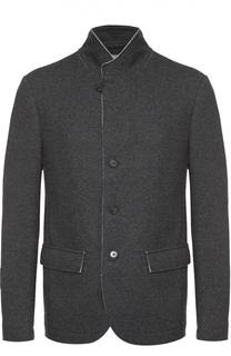 Шерстяной однобортный пиджак с необработанным краем Z Zegna