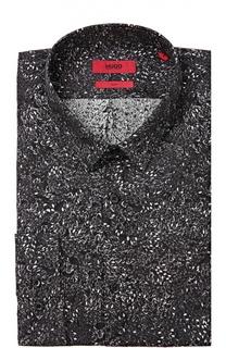 Хлопковая приталенная рубашка с воротником кент HUGO