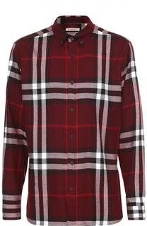 Хлопковая рубашка в клетку с воротником button down Burberry