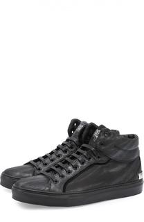 Высокие кожаные кеды на шнуровке Roberto Cavalli