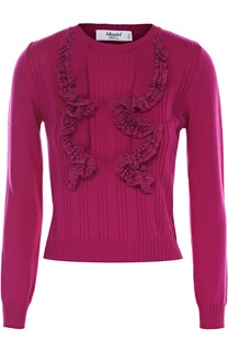 Укороченный пуловер фактурной вязки с оборками Blugirl