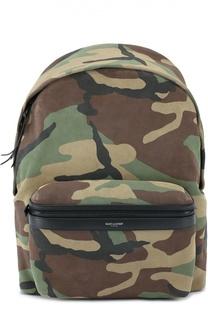 Замшевый рюкзак с камуфляжным принтом Saint Laurent