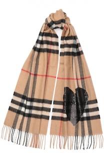 Кашемировый шарф в клетку с вышивкой пайетками Burberry
